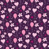 Seamless pattern with hearts, balloons and flowers — 图库矢量图片