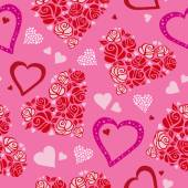 Seamless pattern with hearts and roses — 图库矢量图片