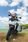 Motorcycle with surfboard at outdoors, Indonesian culture — Stock Photo