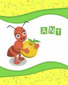 Ant from the collection of alphabet animals — Stock Vector