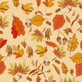 Autumn composition with yellow and red leaves — Stock Vector