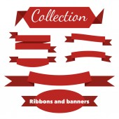 The collection of retro ribbons banners — Stock Vector