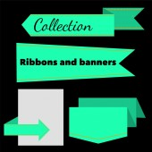 Collection of retro ribbons banners — Wektor stockowy