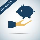 Piglet in hand — Stockvector