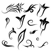 Decor items of flowers, leaves and curls — Stock Vector