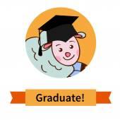 Happy graduate in cap graduation celebration — Stock Vector