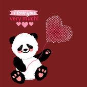 Illustration drawn by animal panda declaration of love — Stock Vector