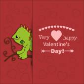 Illustration drawn by animal iguana declaration of love — Stock Vector