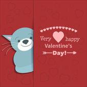 Illustration drawn by animal cat declaration of love — Stock Vector