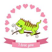 Lizard declaration of love — Stock Vector
