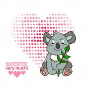 Koala declaration of love — ストックベクタ