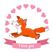 Fox declaration of love — Stock Vector