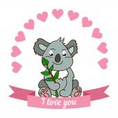 Koala declaration of love — Stock Vector