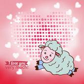 Sheep declaration of love — Stock Vector