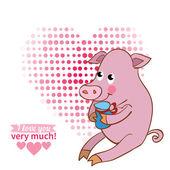 Pig declaration of love — Stock Vector