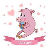 Pig declaration of love — Stock Vector