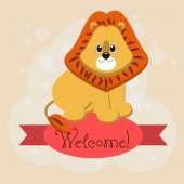Inscription on the tape Welcome and lion — Vector de stock