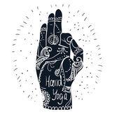 Main de Mudra avec modèles mehndi — Vecteur