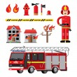 Постер, плакат: Fire department flat icons composition