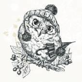 Polar Owl, Merry Christmas Card — Stock Vector
