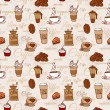 Seamless pattern with coffee cakes — Stock Vector #72348773