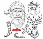 Santa head, hat, bow, mustache — Stock Vector