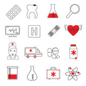 Medicine colored line icons set — Stock Vector