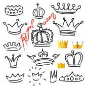 Crowns set doodle and flat — 图库矢量图片