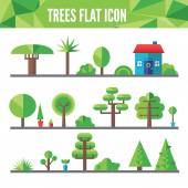 Set of flat trees and grass — Stockvector