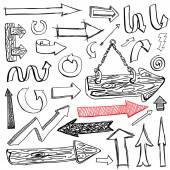 Set of hand drawn sketch of arrow — Stock Vector
