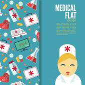 Trendy card with flat medical icons — Stock Vector