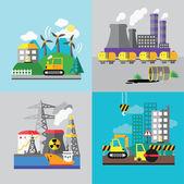 Factory landscape, Ecology Concept — Stock Vector