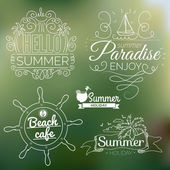 Holidays tropical paradise labels — Stock Vector