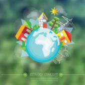 City with tree around Earth — Stock Vector