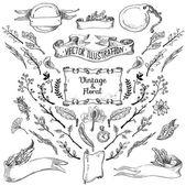 Antika och barock ramar och blommig ornament — Stockvektor