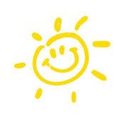 水彩太阳射线平图标 — 图库矢量图片