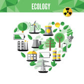 Heart with environmental icons in green — Stock Vector