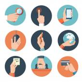 Hands with business icons set — Stock Vector