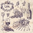 Hand drawn vector set - wine and winemaking — Stock Vector #80052130