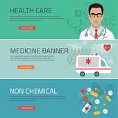 Medical flat banners set  vector illustration — Stock Vector