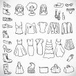 Set of vector silhouettes: shoes, swimwear and accessories. Icons. — Stock Vector #80650098