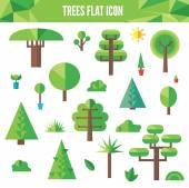 Conjunto de árvores planas e grama, incluindo pinheiros e árvores de folha caduca — Vetor de Stock