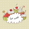 Vector card with colorful cupcake — Stock Vector #81585530