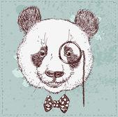 Vintage sketch  illustration of panda bear — Stock Vector
