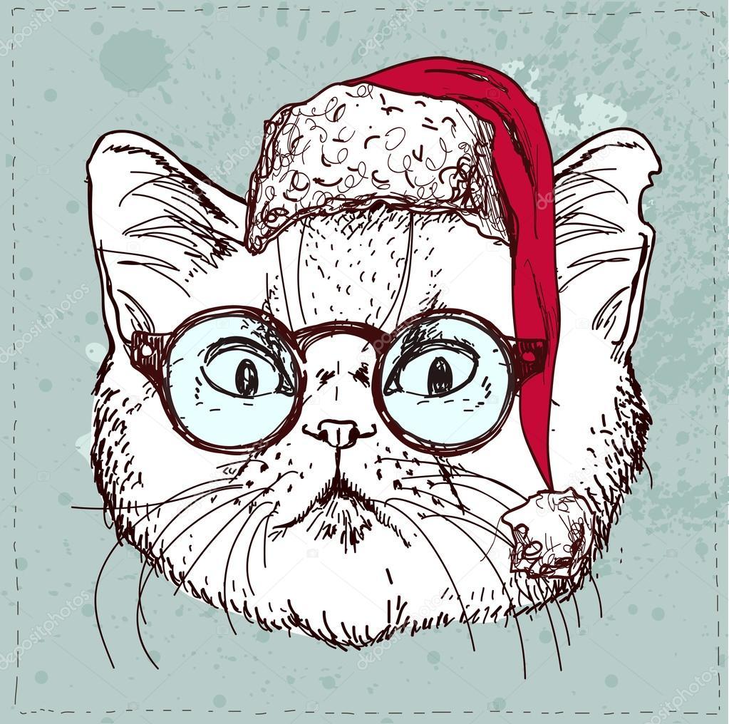Mano de gato hipster Navidad dibujar \u2014 Archivo Imágenes Vectoriales 81591008