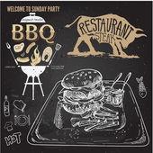 Delicious juicy burger. Sketch illustration — Stock Vector
