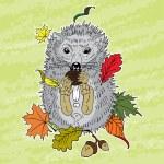 Hedgehog eats mushroom — Stock Vector #59187241