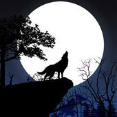 Howling to the full moon — Stock vektor