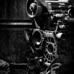 Old car engine, black and white photo — Stock Photo