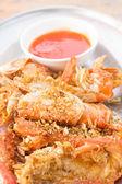 Stir fried shrimp with garlic — Stock Photo